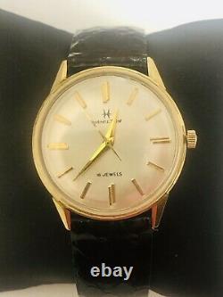 14K Yellow Gold Case 33mm Hamilton 18 Jewels Watch With Original Hamilton Band