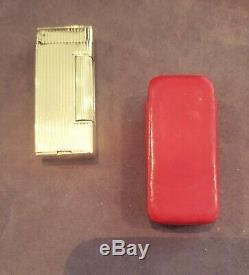 14k Gold Dunhill wick & fuel Lighter complete with original leather case