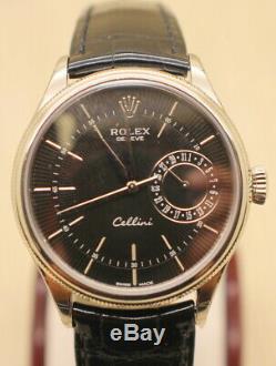 18k gold Rolex Cellini Date REF 50519 original plastic still on watch case