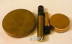 1920s HAND PAINTED POWDER/ROUGE/LIPSTICK SET IN ORIGINAL LEATHER CASE- SO RARE