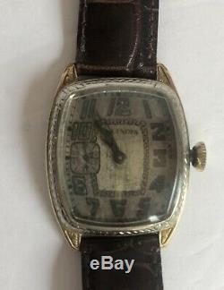 1920s Illinois Marquis Wristwatch Two-Tone 14k GF Case, Original Exploding Dial