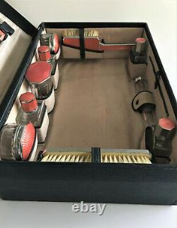 1930s Art Deco Ladies Fitted Travelling Case with Guilloche Finished Contents