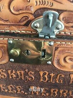 1954 Nebraska's Big Rodeo Queen Trophy Hand Tooled Leather Train Case