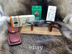 1981 Case Sidewinder Knife With Rosewood Handles With Leather Sheath Mint In Box