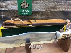 1990 Puma Bowie Knife 116396 Fat Stag Handle Knife Leather Sheath Mint In Case