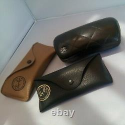 62 mm Ray Ban Aviator Leather wrapped Sun Glasses + choice Chanel/orig case