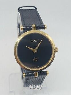 80's Gucci enamel vintage women's watch 33mm case new battery original strap
