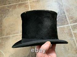 ANTIQUE MACQUEEN & Co LONDON SMALL BLACK SILK TOP HAT 6 5/8 + LEATHER CASE