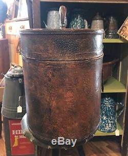 ANTIQUE Oval Wooden Leather Covered Hat Box, Snap Buckle Closure, Overnight Case