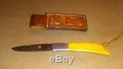 Al Mar #1005 VINTAGE eagle knife yellow micarta with Original leather CASE