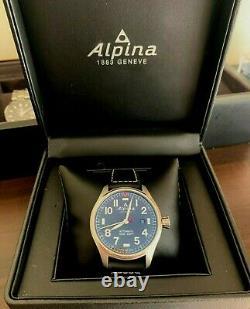 Alpina Startimer Pilot Automatic 44mm Black Dial Steel Case Black Leather Strap
