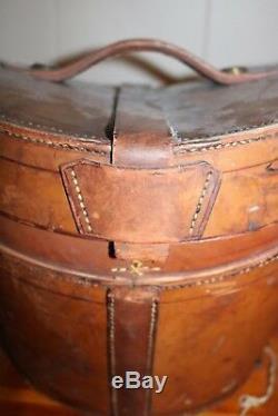Amazing Antique Black Silk Top Hat Stockbridge Edinburgh Scottland Leather Case