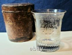 Antique 19th. C. Engraved Blown Glass Presentation Goblet In Orig. Leather Case