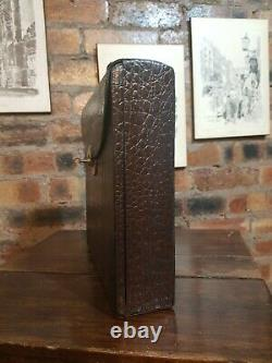 Antique Bramah Case Writing slope with Bramah lock, Crocodile leather Complete