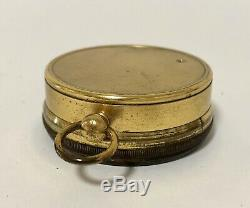 Antique Brass Pocket Barometer by Callaghan London in Original Leather Case