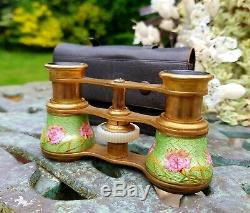 Antique Brass and Guilloché Enamel Opera Glasses with Leather Case