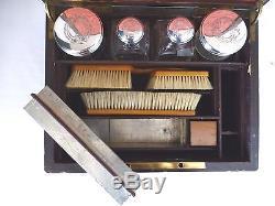 Antique Gentleman's Ebony & Brass Travel Case. Leather & Silk Interior. 1850