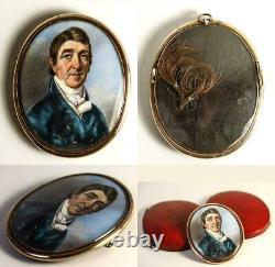 Antique Georgian Portrait Miniature in Oyster Locket Frame and Leather Case, Etu