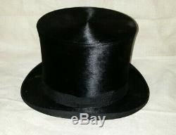 Antique KNOX Silk Beaver TOP HAT with Leather Case Box, Size 7, 22-1/4 cir