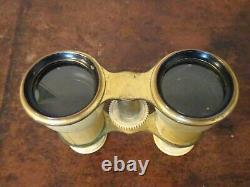 Antique Late 19th Century Ivory and Brass Cased Opera Binoculars in Leather Case