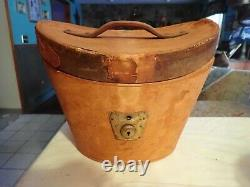 Antique Men's TOP HAT & LEATHER CASE BOX M. H. Lambert New Haven, CT red lining