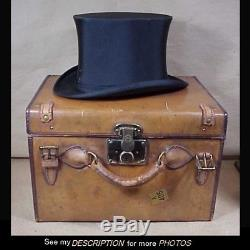 Antique Mens Collapsible Silk Top Hat Leather Carrying Case Dunlap and Co 1800s