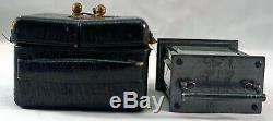 Antique Miniature Carriage Clock with Original Leather Carrying Case Waterbury