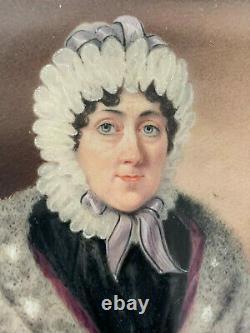 Antique Miniature Portrait Victorian Woman picture painting Leather Case