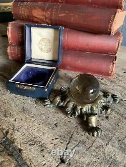 Antique Occult Two Worlds Ltd Crystal Ball Leather Cased W Stand Fortune Teller