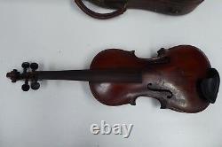Antique Schweitzer Wooden Violin Original Leather Case Old Estate Piece