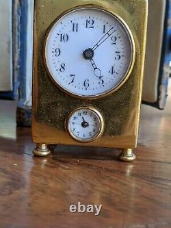 Antique Sonnerie Movement Miniature Carriage Clock In Original Leather Case