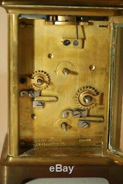 Antique Tiffany & Co. Carriage Clock with Key and Leather Travel Case