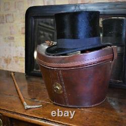 Antique Victorian Leather Top Hat Box Silk Top Franz Gulder Wein Travel Case