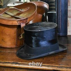 Antique Victorian Tan Leather Hat Box Silk Top Hat Travel Bucket Case Luggage
