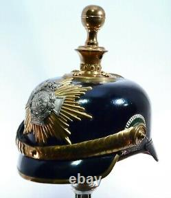 Antique WWI Imperial German Officer Pickelhaube Leather Helmet withTransport Case