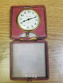Antique Waltham 8 Day Clock In Original Leather Case