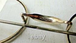 Antique Wire Rim Eyeglasses Lot 4 Specs -3 Gold 1 Hexagon Rimless- Leather cases
