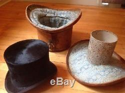 Antique equestrian top hat and leather case