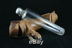 Antique leather cased conical glass hunting saddle hip flask silver top hallmark