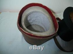 Antique top hat plush silk & original leather case Superior quality brand