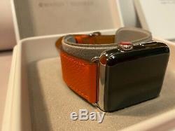 Apple Watch Series 3 Hermès 42mm Stainless Steel Case Original Orange Leather