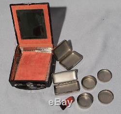 Art Deco Era Vintage Geisha Makeup Compact Case, Leather W Chrome Original Piece