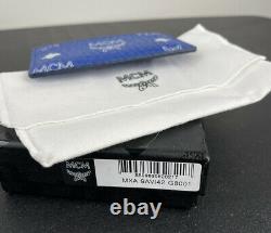 Authentic MCM Visetos Original'Surf The Web' Blue Coated Canvas Mini Card Case