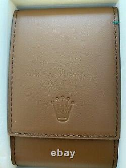 Authentic Original Rolex Brown Leather Watch Travel Storage Case Brand New