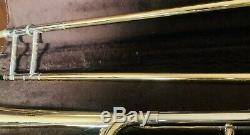 Bach Stradivarius Trombone With Original Leather Case F Attachment Vintage USED