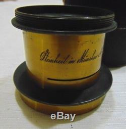 Brass Lens Steinheil Munchen NO 3212 Germany WithOriginal Leather Case Antique