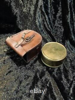 Brass pocket sextant with leather case, 1800s, antique, Troughton & Simms