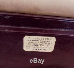 C1850 QUALITY ANTIQUE LEATHER JEWELLERY CASE silk interior J. HAUSBURG maker