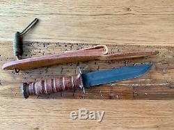 CASE USMC Fighting Knife and V. Peloza Leather Sheath