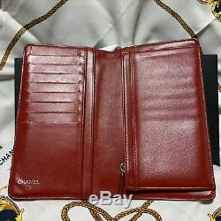 CHANEL Camellia Coin Case Purse Wallet Sheep Leather Lambskin Red 100% original